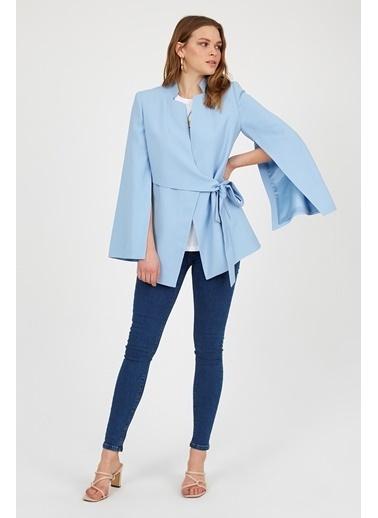Setre Siyah Kuşaklı Kruvaze Vatkalı Pelerin Model Ceket Mavi